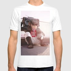 Monkey Beat SMALL Mens Fitted Tee White