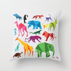 Paper Animals Throw Pillow