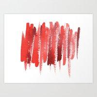 Red Strokes Art Print