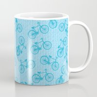 Blue Bicycle Pattern Mug