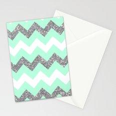 seafoam glitter chevron Stationery Cards
