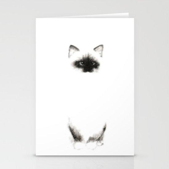 Angora Siamese Cat - Chat Siamois Angora Stationery Card