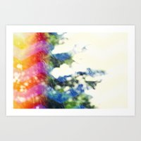 Rain / Rainbow Chevron Art Print