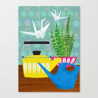 Still life with paper cranes Canvas Print