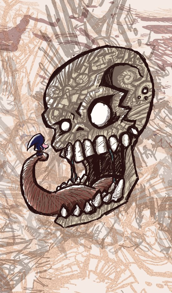 Little piece of my heart for the Giant skull Art Print