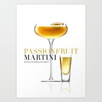 Passionfruit Martini with Champagne Shot Art Print