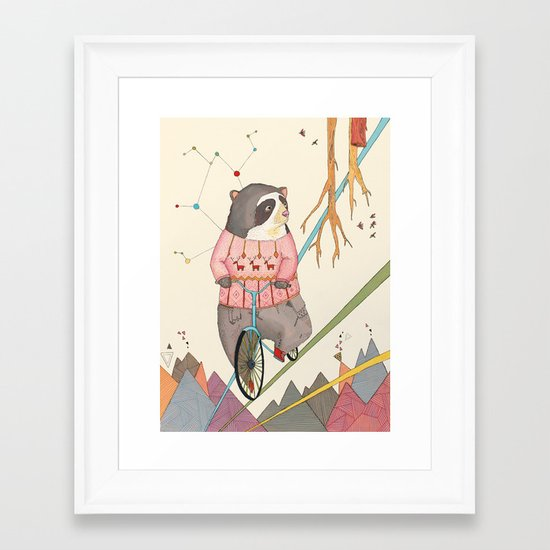 Bear in bicycle Framed Art Print