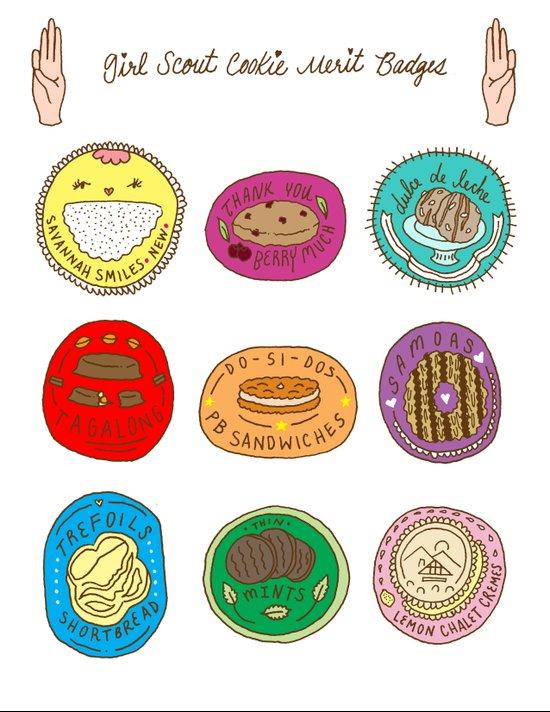 Girl Scout Cookie Merit Badges Art Print