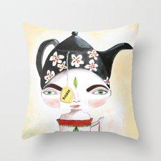 Miss Tea-Time Throw Pillow