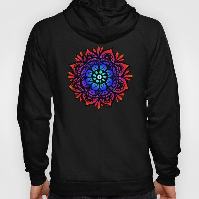 mandala back print black hoody hoodie