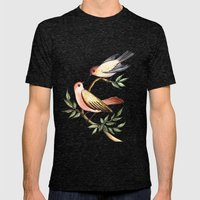 Bird Lovers Mens Fitted Tee Tri-Black SMALL
