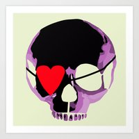 Pink Skull With Heart Ey… Art Print