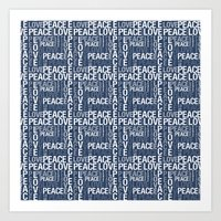 Blue and White Love and Peace Typography Art Print