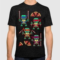 Teenage Mutant Ninja Turtles Pizza Party Mens Fitted Tee Tri-Black SMALL
