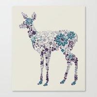 Flower Deer Canvas Print