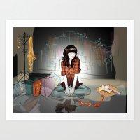 Zooey Deschanel Night Art Print