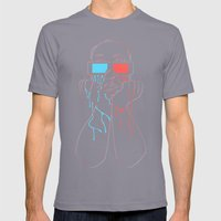Hitchcock 3D Mens Fitted Tee Slate SMALL