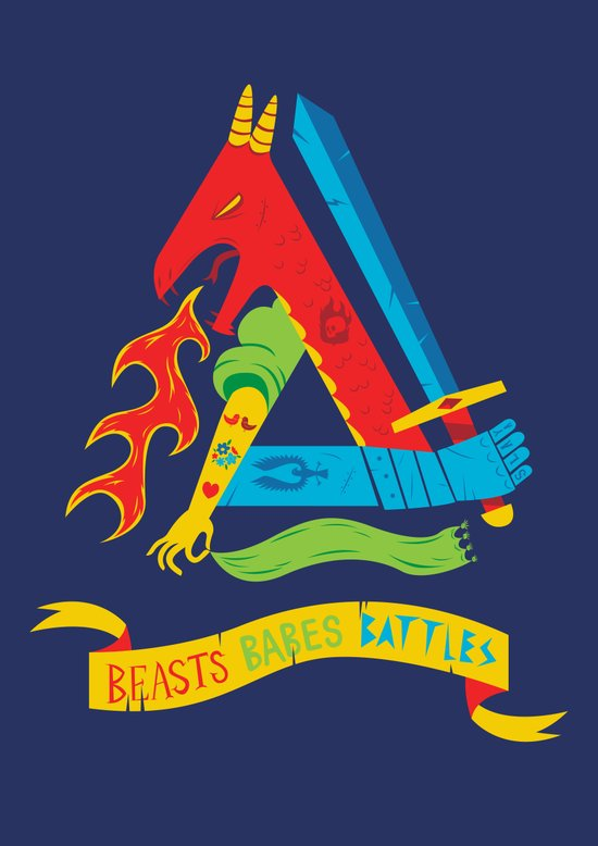 Beasts Babes Battles Art Print