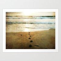 Tracks Into the Sea Art Print