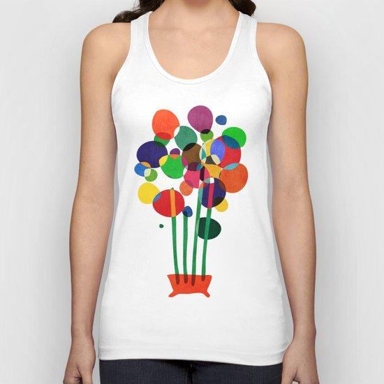 Happy flowers in the vase Unisex Tank Top