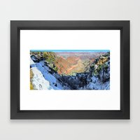 Snowy Grand Canyon South Rim Panorama Framed Art Print