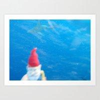 Gnome VS Shark Art Print