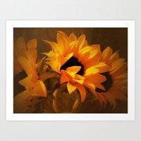 Sunny Autumn Sunflower D… Art Print