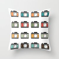 Colourful Camera Icons Throw Pillow