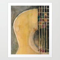guitar Art Prints featuring Guitar  by Dorrie Rifkin Watercolors