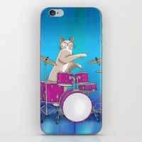 Cat Playing Drums - Blue iPhone & iPod Skin