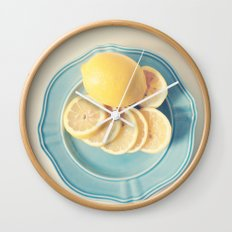 Lemons on Blue Wall Clock