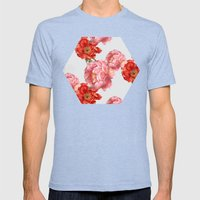 vintage floral Mens Fitted Tee Tri-Blue SMALL