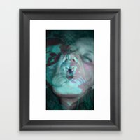 La Chica Loca (in Blue) Framed Art Print