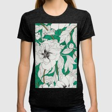 Green Peonies Womens Fitted Tee Tri-Black SMALL