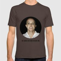 She Shaved Her Head For Our Sins Mens Fitted Tee Brown SMALL