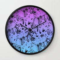 Ombre Feathers Wall Clock