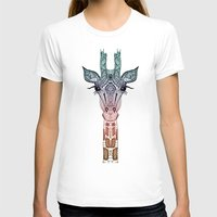 cat T-shirts featuring GiRAFFE by Monika Strigel
