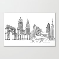 NYC Landmarks By The Dow… Canvas Print