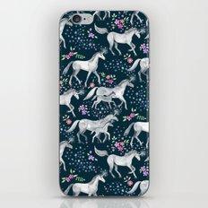 Unicorns and Stars on Dark Teal iPhone & iPod Skin