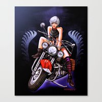 Motorcycle pinup Canvas Print