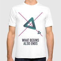WHAT BEGINS ALSO ENDS Mens Fitted Tee White SMALL