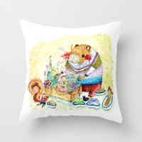 Capybara And His Succule… Throw Pillow