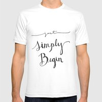 Simply Begin Mens Fitted Tee White SMALL