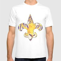 Fleur De Lis LSU Tiger Mens Fitted Tee White SMALL