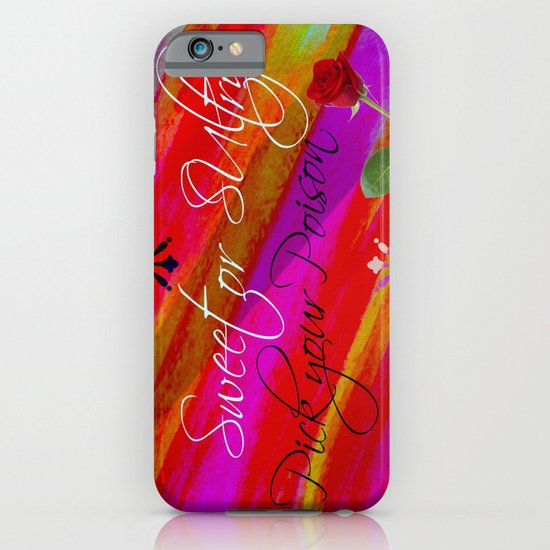 Sweet or Sultry - Sexy Crimson Red Valentine's Day Stripes Typography Abstract Watercolor Painting iPhone & iPod Case