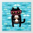 Black cat + coffee Canvas Print