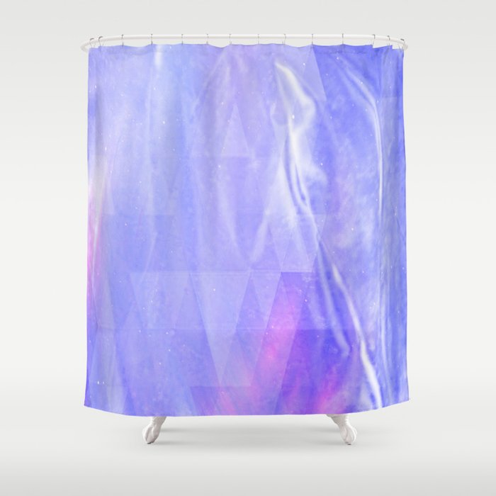Light Blue Pink Lila And White Abstract Silk Look Design Shower Curtain By A