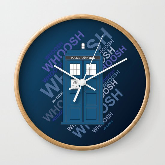 tardis whoosh sound doctor who wall clock by alice wieckowska society6. Black Bedroom Furniture Sets. Home Design Ideas