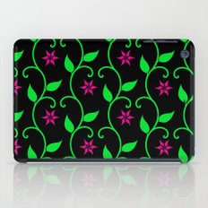Pink flowers and green vines on black iPad Case