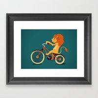 Lion on the bike Framed Art Print